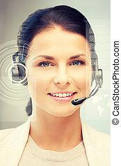 futuristic female helpline operator