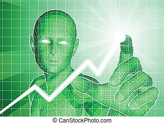 Futuristic figure tracing upwards trend on graph -...