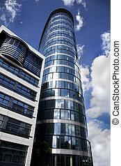Futuristic financial district in a modern city