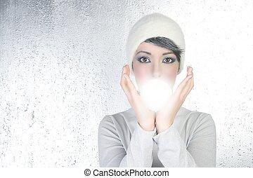 futuristic fortune teller woman light glass sphere future -...