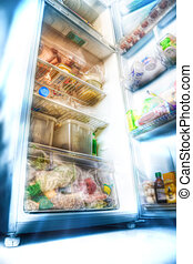 Futuristic fridge. Draw styled photo (HDR).