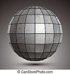 Futuristic galvanized 3d globe created with squares, grunge...