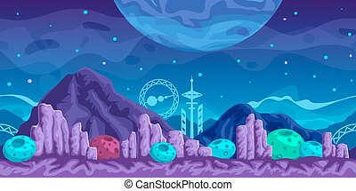 Futuristic Game Background - Fantasy seamless background for...