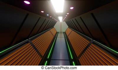 Futuristic Gateway tunnel Led light open door 4k