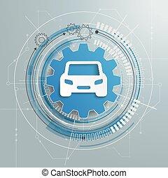 Futuristic Gear CarTechnology Construction