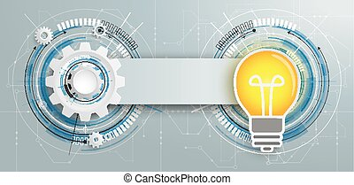 Futuristic Gear Construction Bulb Circuit Board Banner