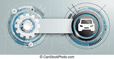Futuristic Gear Construction Car Circuit Board Banner