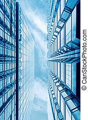 futuristic glass  building