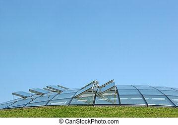 Futuristic Glazing - Open glass ventilation windows on a ...