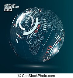 Futuristic Globalization Interface. Vector Illustration. Technology Background For Computer Graphic Website And Business