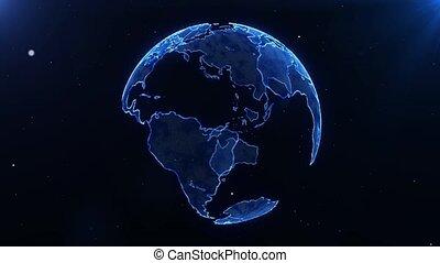 Futuristic Globe Earth Digital Hologram Spinning With Stars