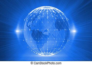 Digitally generated futuristic glowing globe