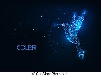 Futuristic glowing low polygonal flying colibri bird on dark blue background