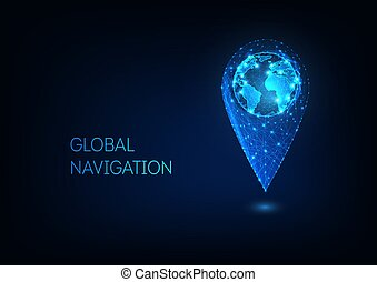 Futuristic glowing low polygonal GPS location sign with earth globe inside.