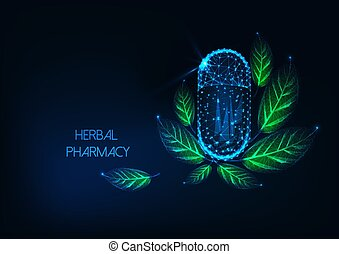 Futuristic glowing low polygonal herbal pharmacy concept with capsule pill and green leaves on dark blue background. Naturopathy, ayurveda, holistic medicine. Modern wire frame vector illustration.