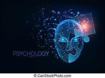 Futuristic glowing low polygonal human head made of jigsaw puzzle pieces on dark blue background.