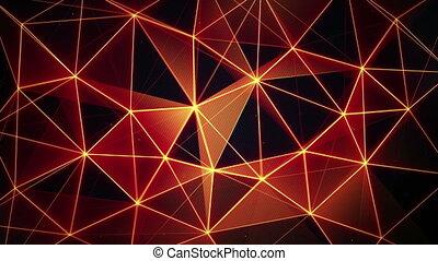 futuristic glowing orange network seamless loop