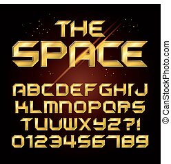 Futuristic Golden Shine Alphabet and Numbers, Editable eps10...