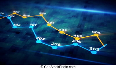 futuristic graph chart seamless loop animation