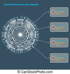 Futuristic graphic user interface. Abstract techno circle infographic.