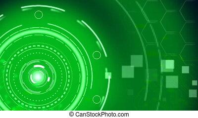Futuristic Green Hi-Tech Technology Background.