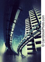 Futuristic grunge city - Futuristic monorail bridge around...
