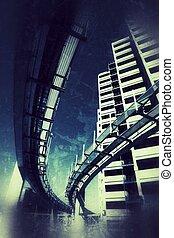 Futuristic grunge city - Futuristic monorail bridge around...