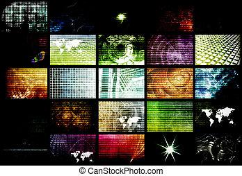 futuristic, hálózat, energia, adatok, rács