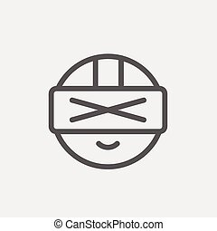 Futuristic headset thin line icon - Futuristic headset icon...