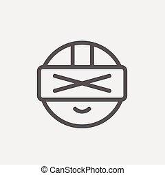 Futuristic headset thin line icon - Futuristic headset icon...