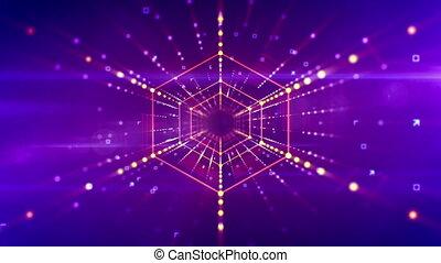 """""""Futuristic hexagonal neon tunnel movement"""" - """"A sci-fi 3d..."""