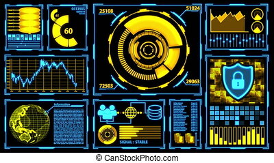 Futuristic HUD Data Transmission and Digital Transformation Screen with Details in Yellow-Blue color theme including digital elements