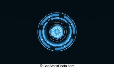Futuristic HUD interface.