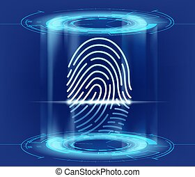 Futuristic HUD interface with fingerprint scan. Data security