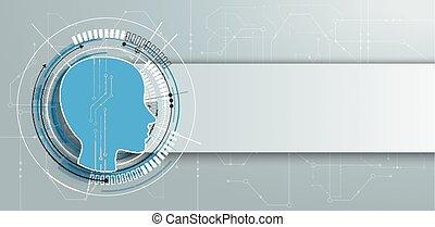 Futuristic Human Head Circuit Board Banner