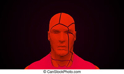 Futuristic human head with collapsing face. Computer ...