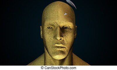 Human head with collapsing face. Computer generated futuristic background. 3D rendering head deformity
