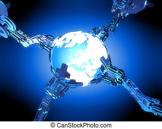 3d rendered illustration of robotic arms around a globe