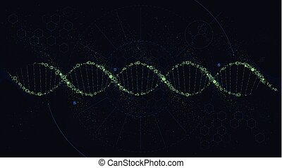Futuristic illustration of the structure of DNA, Sci-Fi...