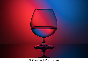 futuristic image of a glass on a red-blue background
