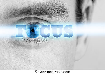 Futuristic image of sign Focus using human eye as the letter O