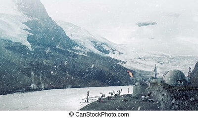 Futuristic Industrial Operation On Snowy Planet