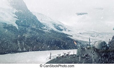 Science fiction landscape with power plant, excavators and drilling machines working in snowy landscape