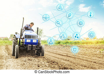 Futuristic innovative technology pictogram and a farmer on a...