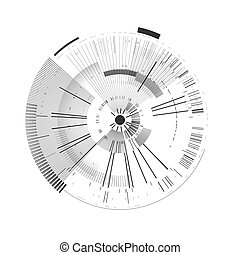 Futuristic interface element. Technology circle. Digital futuristic user interface. HUD. Sci fi futuristic template isolated on white background. Abstract vector illustration.