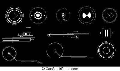 Futuristic Interface Elements - Three screens containing...