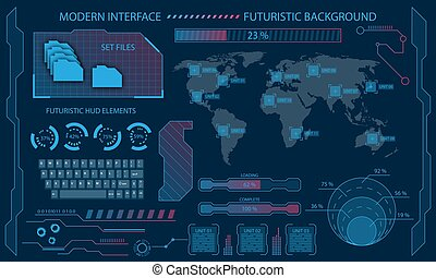 Futuristic Interface Hud Design, Infographic Elements, Tech and Science, Files System, Visualization Dashboard - Illustration Vector