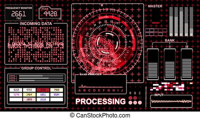 Futuristic interface - red gamma - HUD technological background
