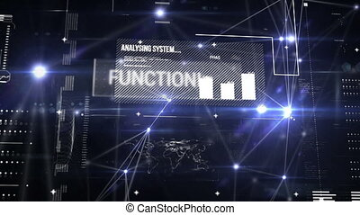 Digital animation of a futuristic interface with different graphs and data moving in the screen while glowing asymmetrical lines zoom in.
