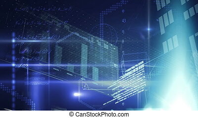 Futuristic interface with graphs and geometrical figures and program codes in the background